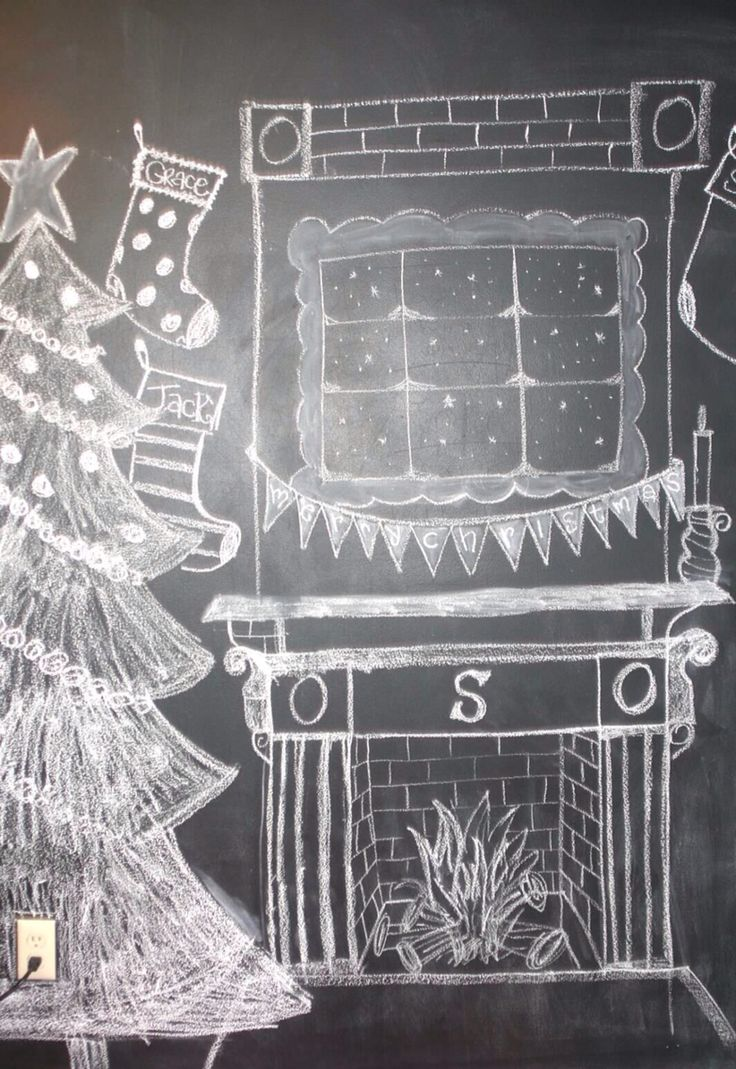 Chalkboard drawing art for backdrop. Christmas tree and ...