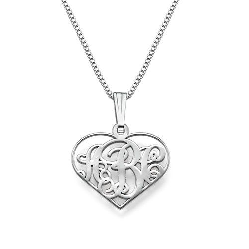 XS Heart Monogram Necklace in Silver | MyNameNecklace