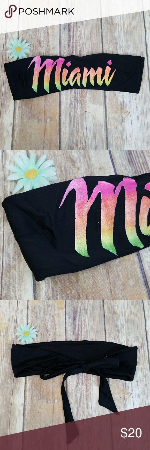Beach riot bikini Brand new black top woth words miami just no tags Beach Riot Swim Bikinis