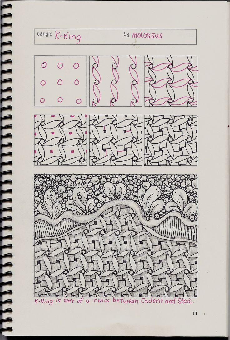 tangle patterns | New tangle pattern Tricorn & redo of K-ning #zentangle ...