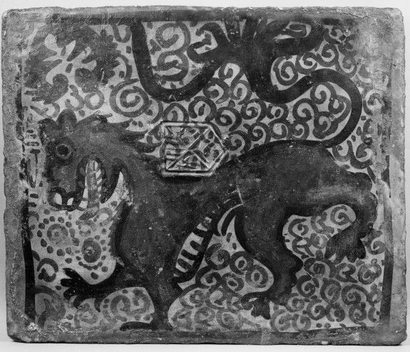 Ceiling tile (socarrat) with heraldic lion (Arms of Dukes of Segorbe)