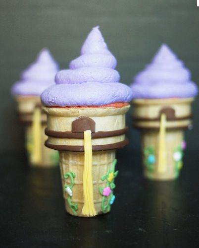 Rapunzel cones...20 something Disney inspired desserts...super cute! Great for a themed movie night birthday party!