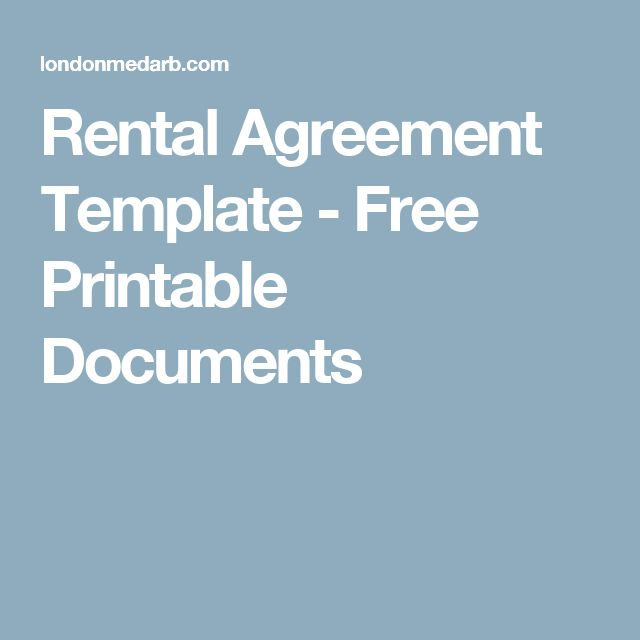 Rental Agreement Template - Free Printable Documents