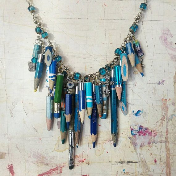 Artistic mixed media pencil necklace, blue Available from Stripey Stockings