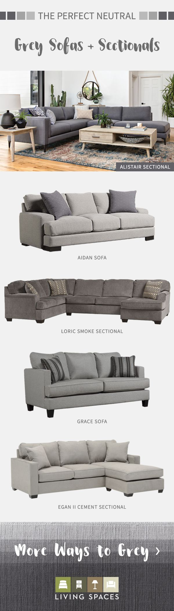 Grey sofas & sectional sofas are the perfect neutral piece for any living room.  From light grey to charcoal, browse sofa and sectional options in every shade of grey.