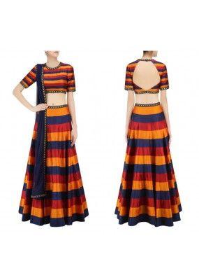Bollywood Replica - Party Wear Multi-Colour Silk Crop Top Choli - S1032