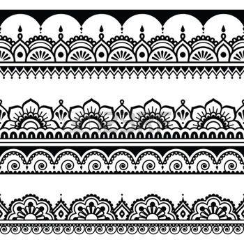 Indian seamless pattern, design elements - Mehndi tattoo style photo