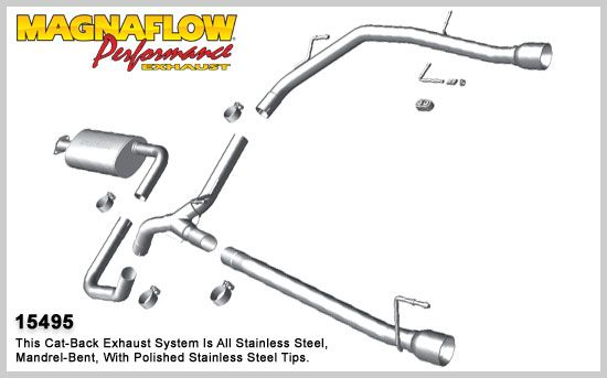 2010-2015 Chevrolet Cruze MagnaFlow Stainless Cat-Back System Performance Exhaust, Dual Tips, 15495