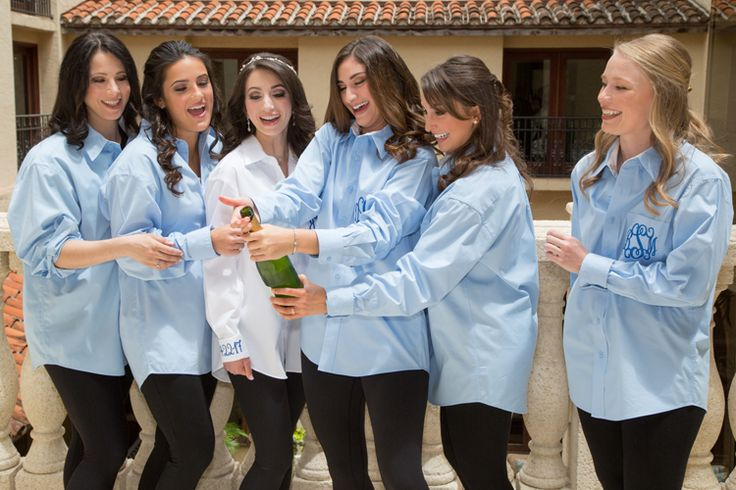 Adorable bridesmaid photo | Matching embroidered button up tops (Jeff Kolodny Photography)