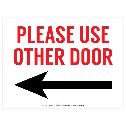 Please Use Back Door Sign Golfclub