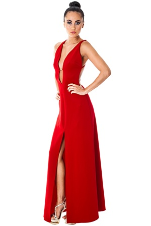 Rihanna style red wine dress