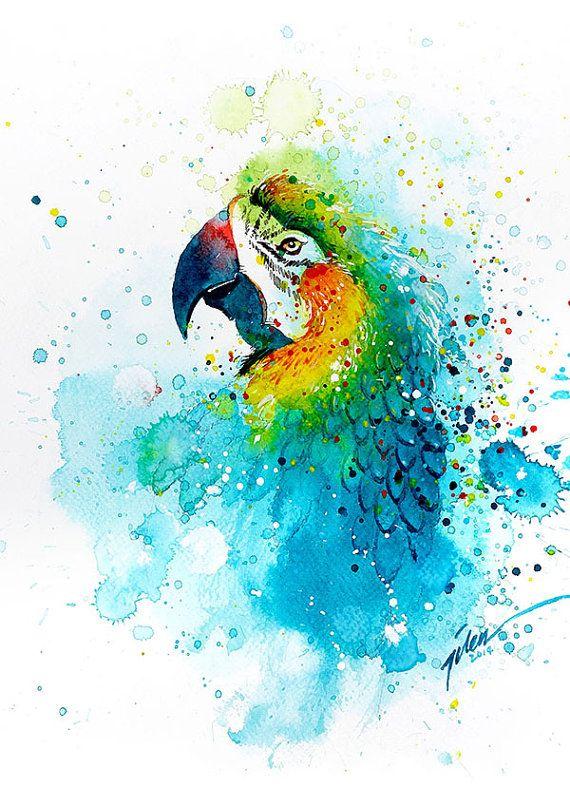 Peinture « Perroquet » par Tilen Ti Aquarelle 15August2014 Cette reproduction est imprimée sur papier fine art 200 g/m A4 210 x 297 mm 8,3 x 11,7 pouces A3 • 297 x 420 mm • • 11,7 x 16,5 pouces [y compris 10mm blanc bordure tout rond]