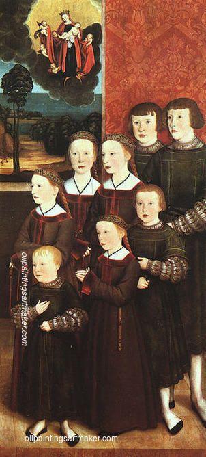 Bernhard Strigel The eight children Konrad Rehlinger, 1517 painting for sale online outlet, painting Authorized official website