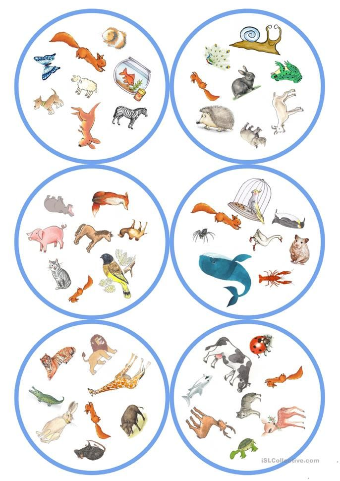 Spiele im Deutschunterricht: Dobble – Tiere (57 Karten / 8 Symbole)