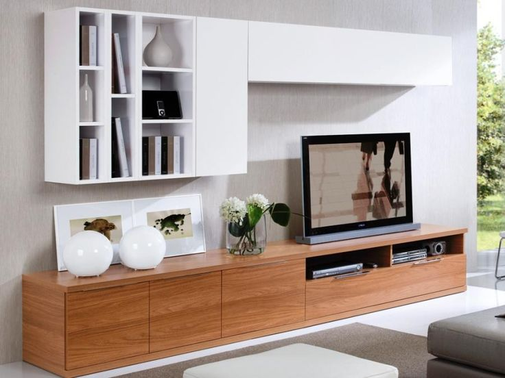 Low walnut TV unit with 2 white wall cabinets and display areas