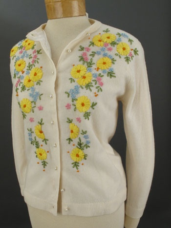 vintage Sweaters-Ivory Lambswool Floral Embroidered Cardigan Sweater
