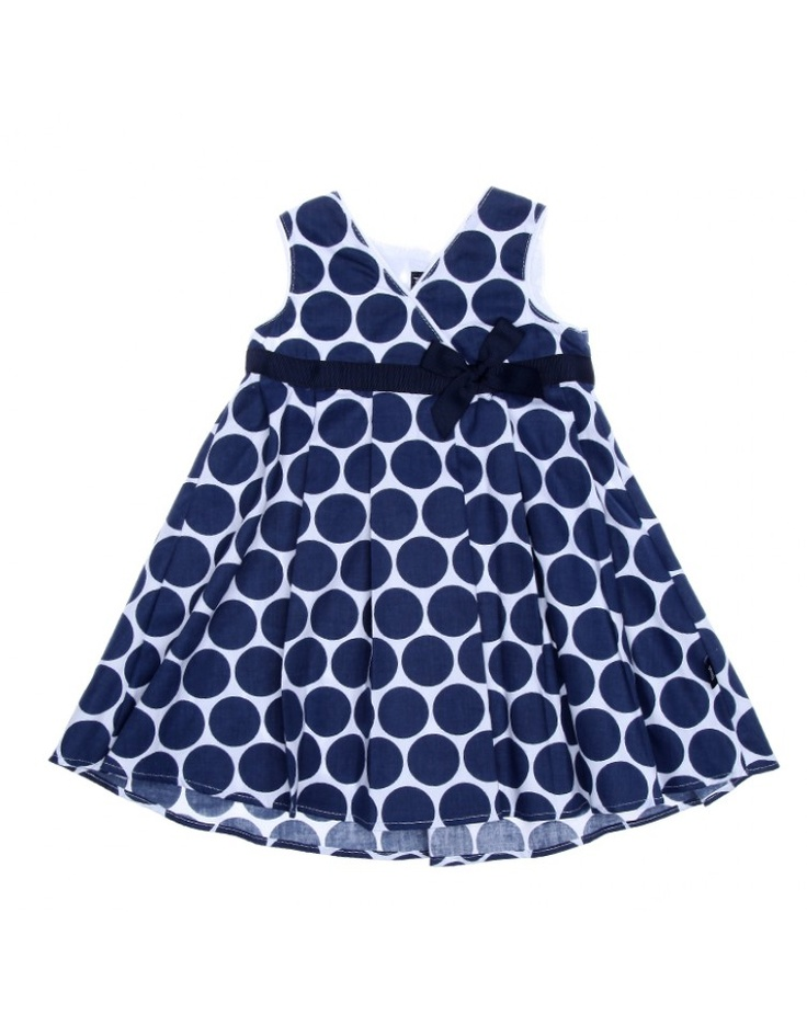 PHOEBE & FLOYD | Crossover big polka dot pleated pinny with petersham bow detail | Baby Fashion | kinderelo.co.za