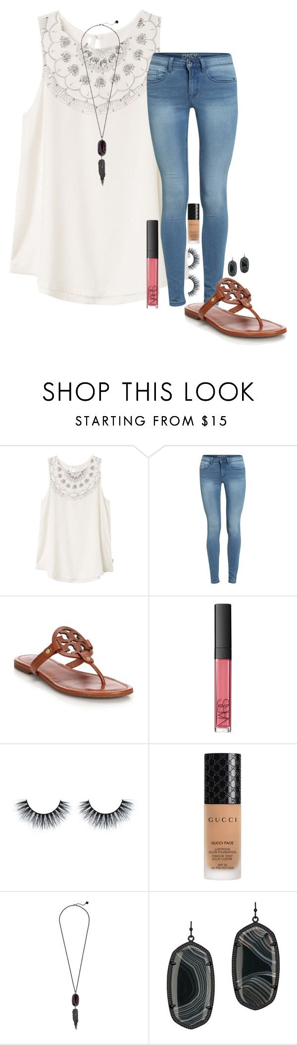 """""""less then 10 days left!!!"""" by madeleineds ❤ liked on Polyvore featuring RVCA, Tory Burch, NARS Cosmetics, Gucci and Kendra Scott"""