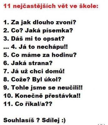 Nejčastější věty ve škole | Vtipné obrázky - obrázky.vysmátej.cz