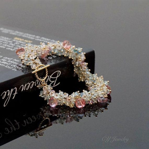 Hecho a la medida de Topacio rosa y grupo aguamarina pulsera, pulsera de Cluster de piedras preciosas #B201