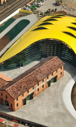 Modena, Italy - Museo Ferrari - the ancient stands next to ultra modern.