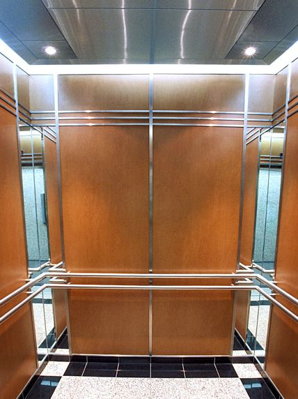 This Elevator Interior Installed At 60 Columbia Way Modernized The Wood Veneer Cab With Bold