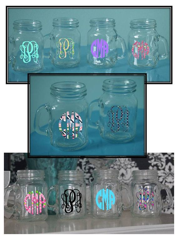 Personalized Monogrammed 4oz. Mason Jar Shot Glass With Lilly Pulitzer, Vineyard Vines or Solid Vinyl Monogram on Etsy, $5.00