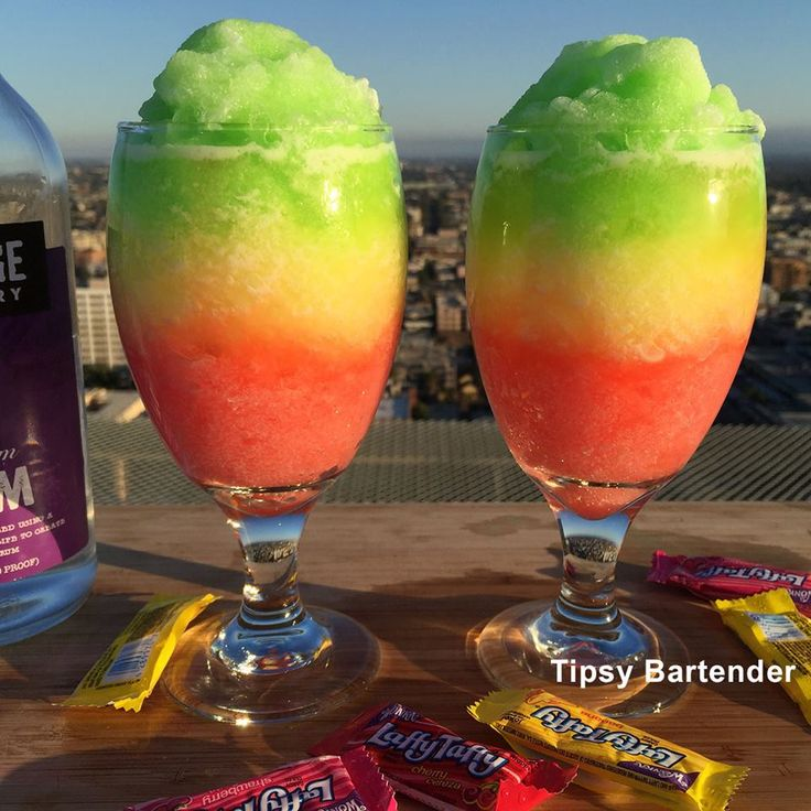 What happens when you take a daiquiri and infuse it with laffy taffy candies?! You get....THE LAFFY TAFFY DAIQUIRI. For the recipe, visit us here www.TipsyBartender.com