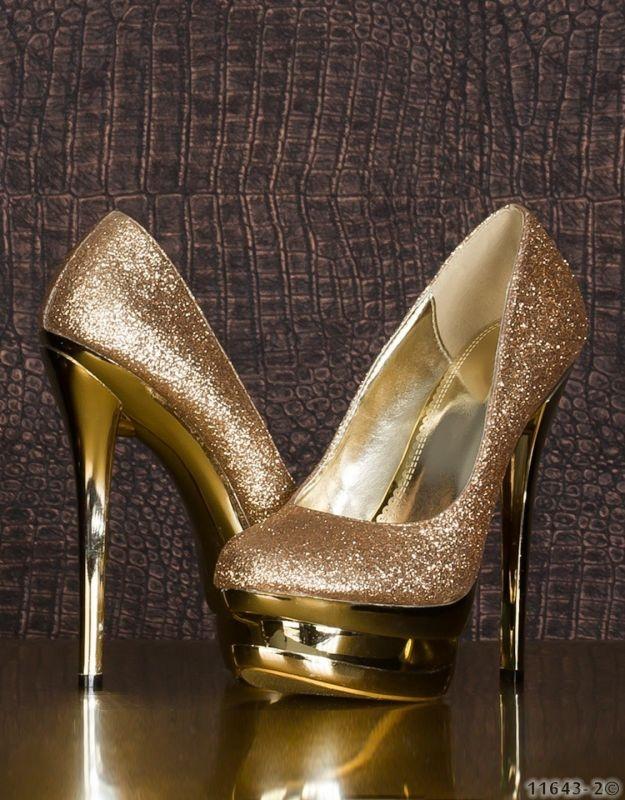 Sexy scarpe con tacco - Decolleté - Oro - Codice: 97002010