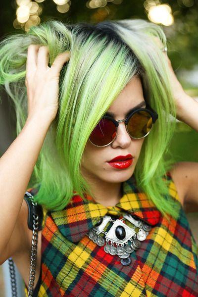 Green hair http://www.attitudeholland.nl/haar/body-sieraden/haarverf/electric-lizard-classic-semi-permanente-haarverf/