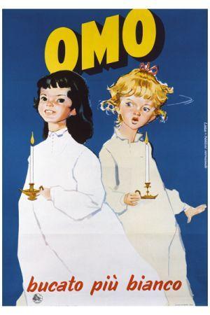 soap powder♥ Omo bucato più bianco vintage poster G80508