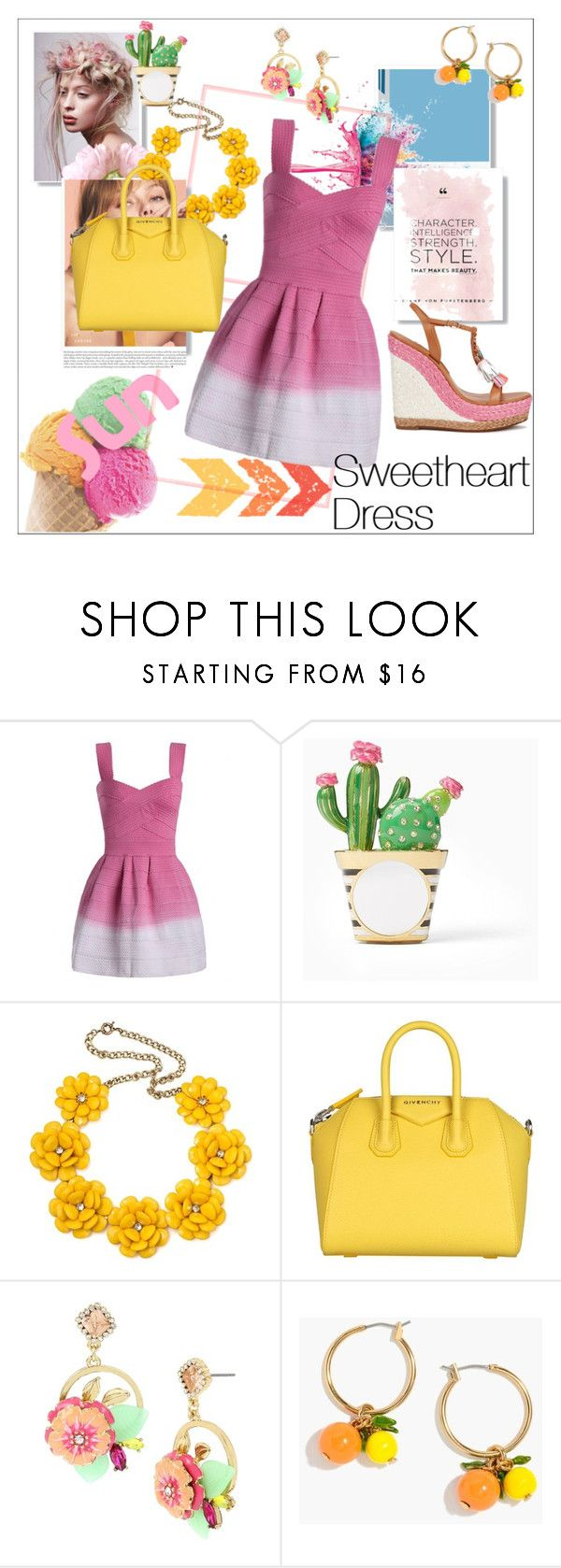 """Sweetheart Neck Ombre Mini Dress by ZAFUL"" by moody-board ❤ liked on Polyvore featuring Givenchy, Kate Spade, Betsey Johnson, J.Crew and Sophia Webster"