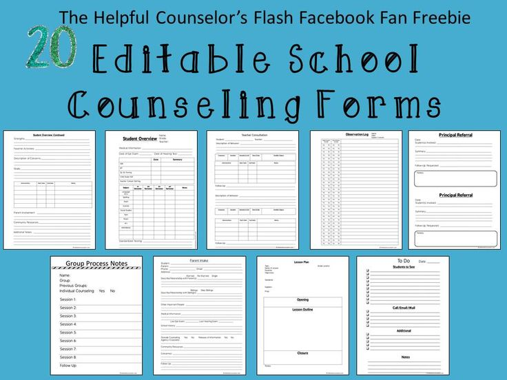 School Counseling Forms Facebook Freebie - Sneak Peak! - The Helpful Counselor | The Helpful Counselor