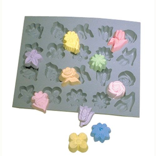 Mold sugars or candies for springtime teas and celebrations  Add a bouquet of edible decorations or candies to your party or gathering. Mold cream cheese mints, butter or attractive sugars. One sheet provides a total of 20 cavities, in 10 different designs. Commercial quality and design as used by generations of candymakers. Molded in heavyweight gray rubber.