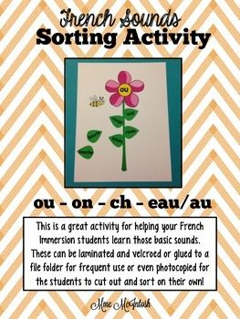 Adorable flower/stem sorting activities for French sounds
