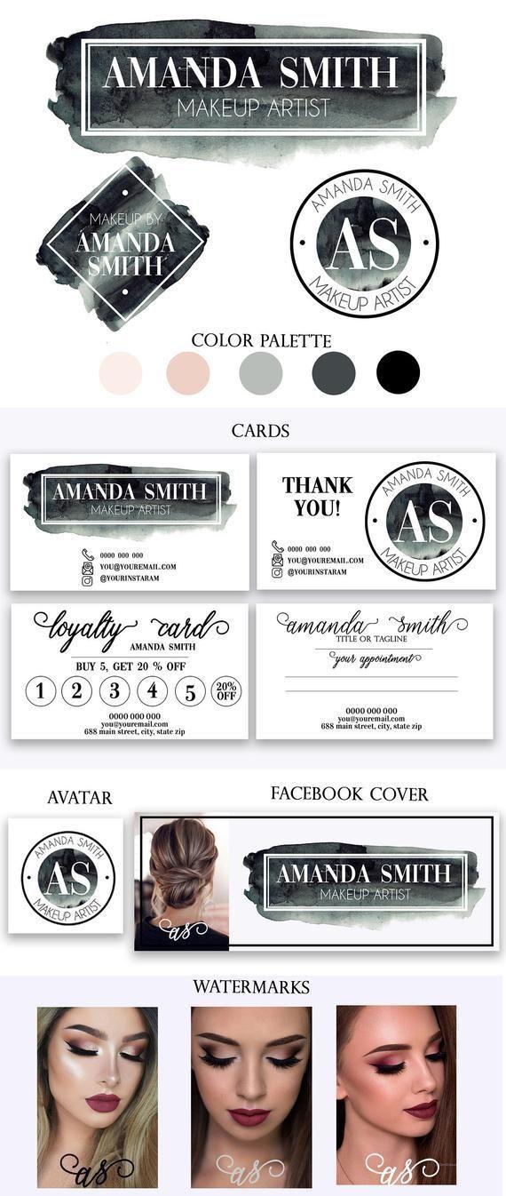 Black Makeup Artist Logo Design Black Watercolor Makeup Etsy Makeup Artist Business Cards Design Makeup Artist Logo Design Makeup Artist Business