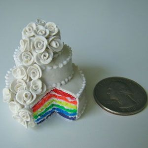 Mini Wedding Cake  The Artist: Jessica Hlavac, i'm so tiny  After New York state legalized gay marriage, Jessica Hlavac made this super-small wedding cake (it was her first and, so far, only chance to use neon clay she had on hand). But cake isn't her only mini creation. She's made tiny eats in lots of food categories, including appetizers, breakfast, and sandwiches.