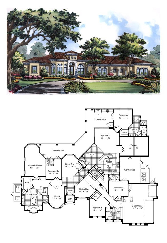 COOL House Plan ID: chp-33781 | Total Living Area: 5342 sq. ft., 4 bedrooms & 5 bathrooms. Beyond the dining room / gallery is the family area of this home with a large island kitchen, dual space for refridgerators, dual space for ranges, a large walk-in pantry between the ref. whose entrance could be consealed by the cabinetry matching the ref. doors. #houseplan #courtyard