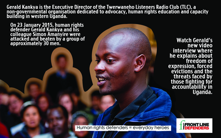 Watch this video interview with Gerald Kankya, where he explains about freedom of expression, forced evictions and the threats faced by those fighting for accountability in Uganda.