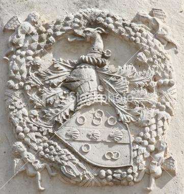 heraldic knight symbol on stone