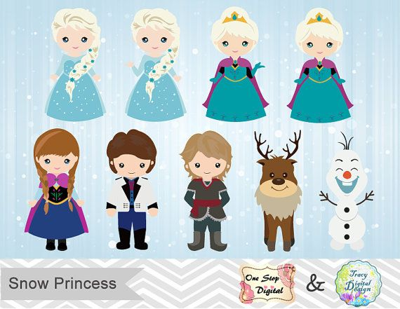 Instant Download Snow Princess ClipArt Frozen by OneStopDigital