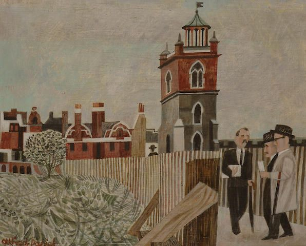 Alfred Daniels – St Giles Cripplegate (Before the Builing of the Barbican), 1960, acrylic on board, 21.5 x 26.5cm