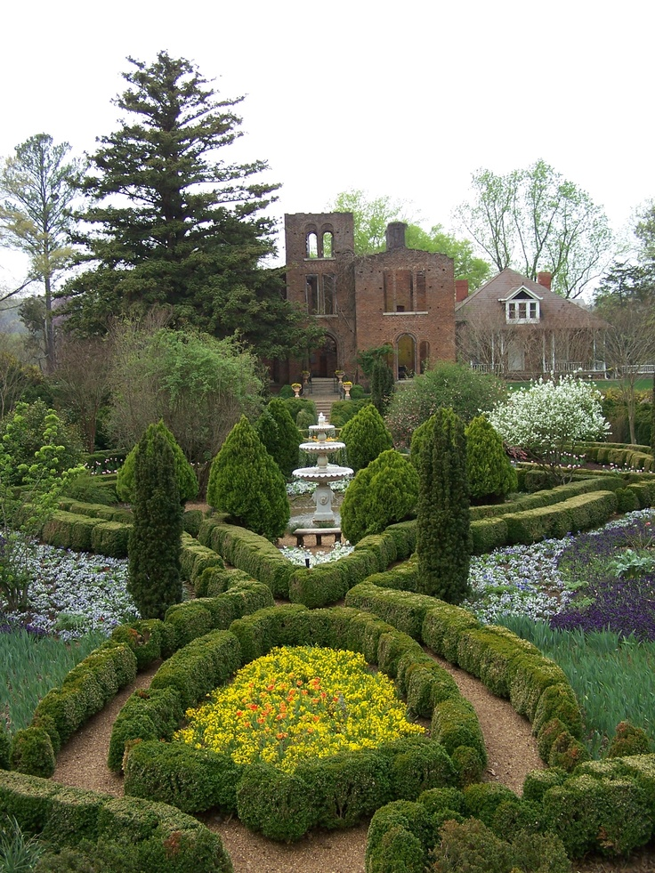Boxwood Parterre Garden with The Ruins at Barnsley Resort