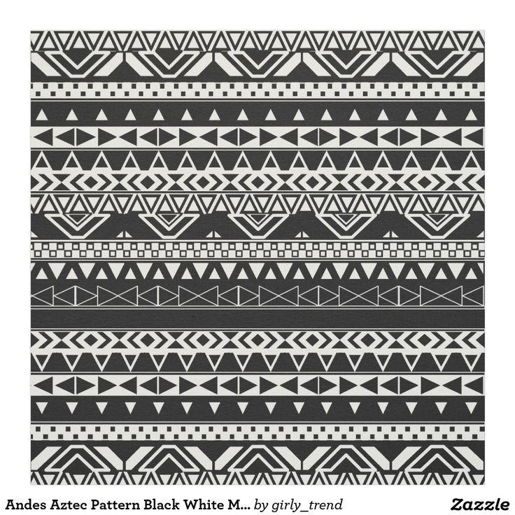 Motif monochrome blanc de noir aztèque de motif tissu