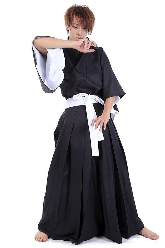 WS_COS Bleach Cosplay Kurosaki Ichigo Shinigami Black Male Kimono 1st Set M -- More info could be found at the image url.