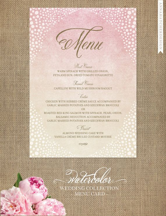 Menu Cards with Pink, Gold and Ivory Wash and Gold Text - Watercolor Wedding Collection - Design for Printed Menu Card with FREE SHIPPING