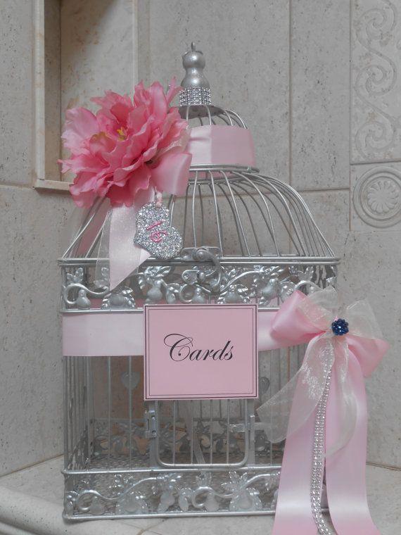 Sweet Sixteen Birdcage Card Holder / Card Box / by YesMoreFunk