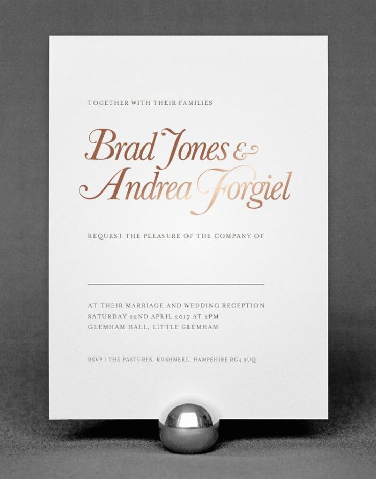 Elegance Wedding Invitation Foil Printed With Rose Gold On White Card