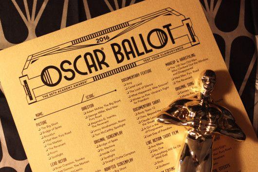 2016 Oscar ballot printable PDF