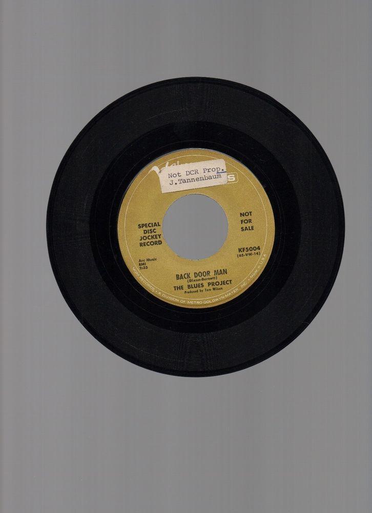 """THE BLUES PROJECT 7"""" 45rpm PROMO 1966 VERVE #KF5004 BACK DOOR MAN BLUES ROCK #BluesRock"""